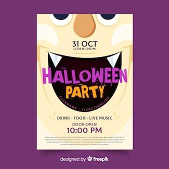 Szablon dracula kły halloween party ulotki