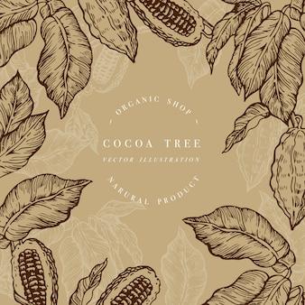 Szablon drzewa kakaowego. ilustracja stylu grawerowanego. czekoladowe ziarna kakaowe. ilustracja