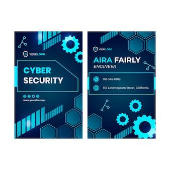 Szablon dwustronnej pionowej wizytówki z cyberbezpieczeństwem