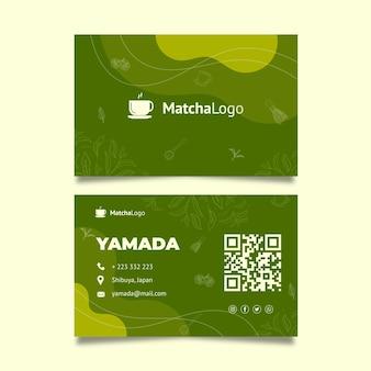 Szablon dwustronnej poziomej wizytówki herbaty matcha