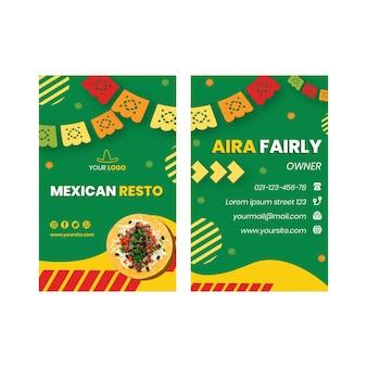 Szablon dwustronnej poziomej wizytówki kuchni meksykańskiej