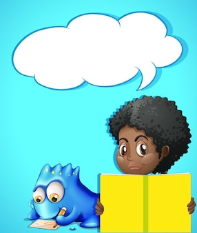 Szablon dymka z dziewczyną czytającą książkę