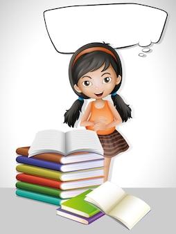 Szablon dymka z dziewczyną i książkami