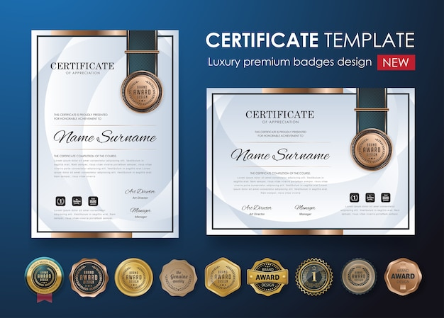 Szablon dyplomu certyfikatu premium