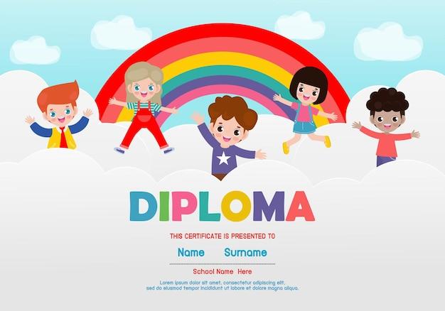 Szablon dyplomu dla dzieci certyfikaty przedszkolne i podstawowe