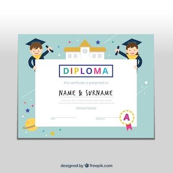 Szablon dyplomu dla dzieci z płaskich elementów