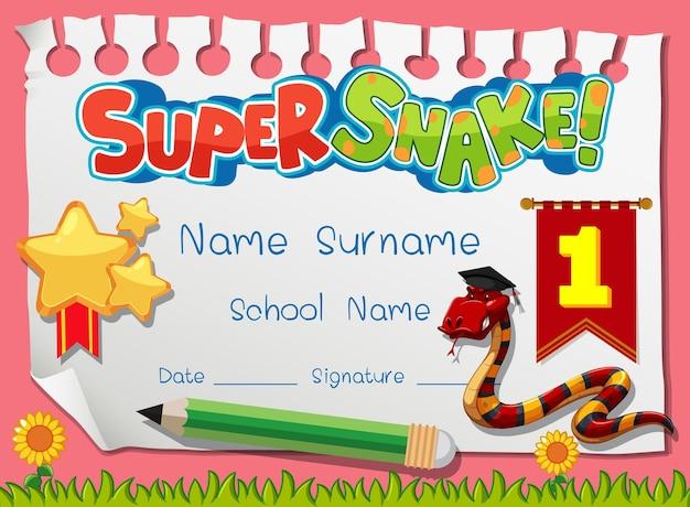 Szablon dyplomu lub certyfikatu dla dzieci w wieku szkolnym z postacią z kreskówki super węża