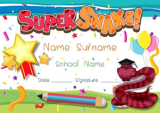 Szablon dyplomu lub certyfikatu dla dzieci w wieku szkolnym z super wężem