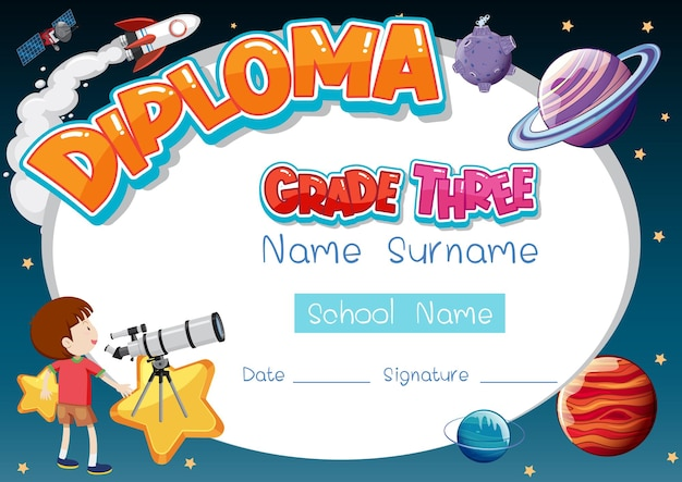 Szablon dyplomu lub certyfikatu dla dzieci w wieku szkolnym