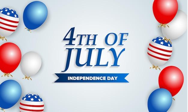 Szablon dzień niepodległości usa. wystrój balonów flagi amerykańskiej. święto 4 lipca