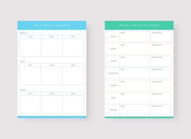 Szablon dziennego i tygodniowego planu posiłków zestaw planera i listy zadań
