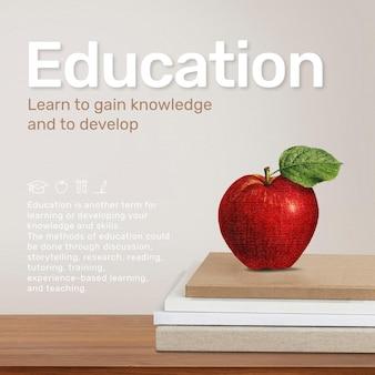 Szablon edukacyjny z jabłkiem na stosie książek