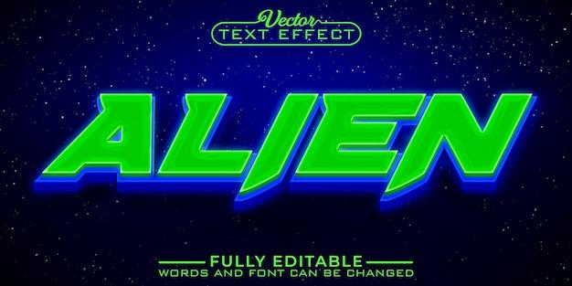 Szablon edytowalnego efektu tekstowego w grach z zielonym obcym