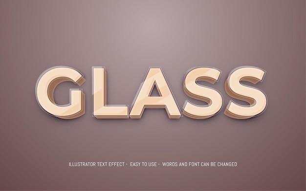 Szablon efektu edytowalnego stylu szkła 3d tekstu