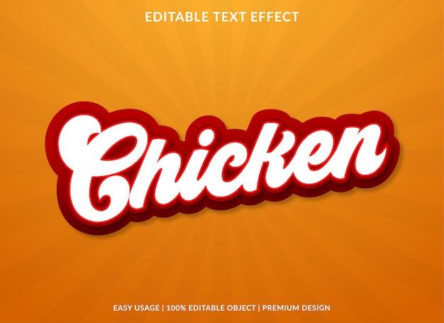 Szablon efektu tekstowego kurczaka w stylu vintage