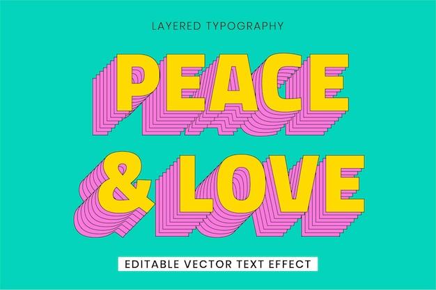 Szablon efektu tekstu wektorowego w stylu retro z warstwami tekstu
