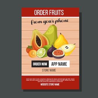 Szablon egzotycznej ulotki owoców