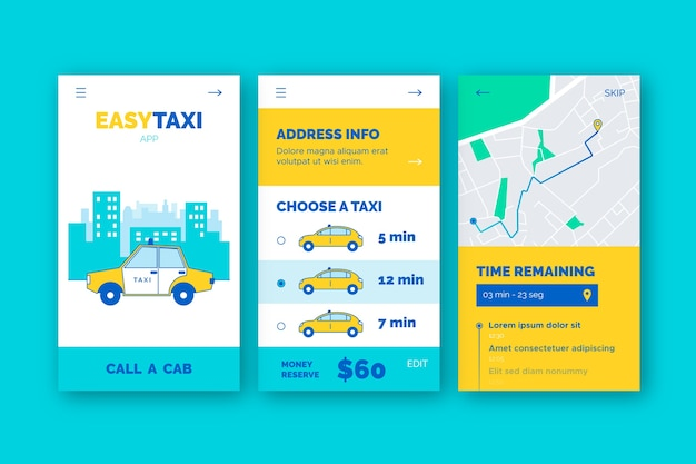 Szablon ekranów aplikacji do obsługi taksówek