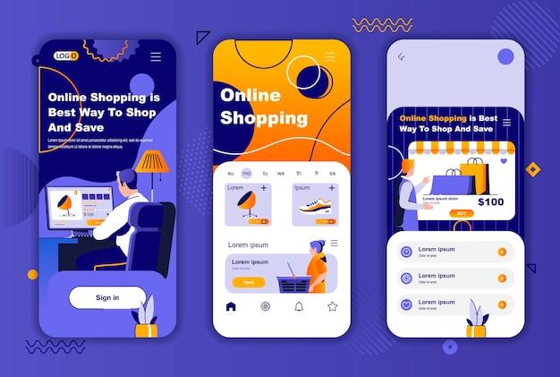 Szablon ekranów aplikacji mobilnych zakupów online dla historii sieci społecznościowych