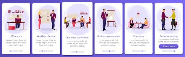 Szablon ekranu aplikacji mobilnej dla branży biznesowej. praca biurowa, przepływ pracy, coworking. prezentacja biznesowa. przewodnik po witrynie z postaciami. interfejs rysunkowy smartfona ux, ui