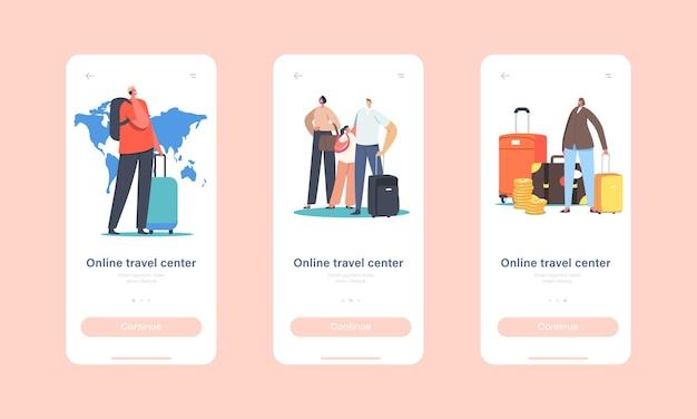 Szablon ekranu aplikacji mobilnej online travel center mobile app. postacie korzystają z usługi biura podróży, aby wybrać się na wakacje. koncepcja oferty touroperatora. ilustracja wektorowa kreskówka ludzie