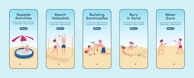 Szablon ekranu aplikacji mobilnych do gier plażowych. budowanie aktywności zamku z piasku. przewodnik po witrynie z postaciami. interfejs rysunkowy smartfona ux, ui, gui, zestaw wydruków skrzynek