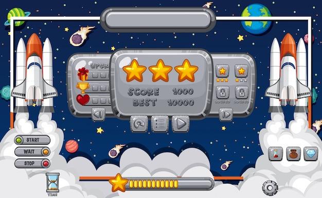 Szablon ekranu do gry komputerowej z motywem kosmicznym