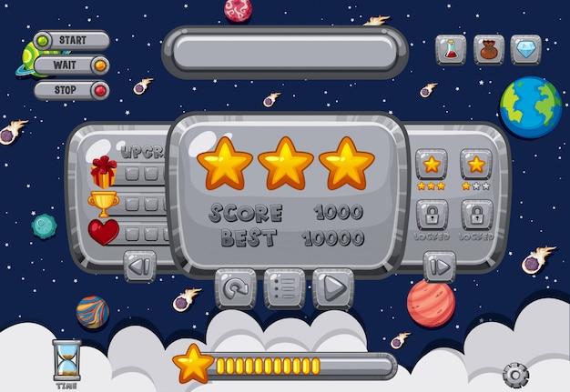 Szablon ekranu do gry komputerowej z przestrzenią
