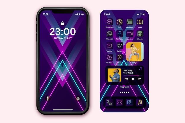 Szablon ekranu głównego neon dla smartfona