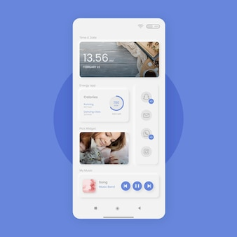 Szablon ekranu głównego neumorph dla smartfona