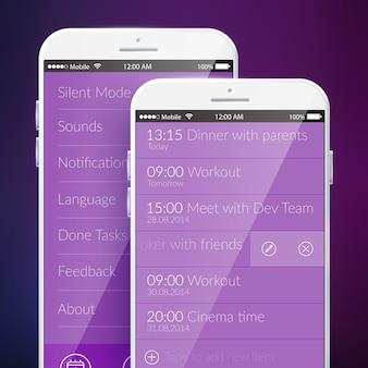 Szablon ekranu mobilnego z przypomnieniem i ustawieniami projektowania interfejsu internetowego w kolorze fioletowym na białym tle ilustracji wektorowych