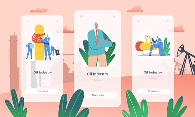 Szablon ekranu na pokładzie aplikacji mobilnej przemysłu naftowego. postacie gazowców i inżynierów stoją na linii rurociągu gazowego