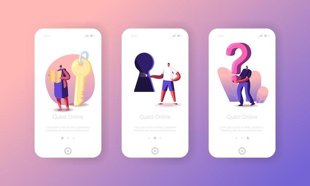 Szablon ekranu na pokładzie escape room mobile app. tiny characters paying quest gra rozwiązywanie zagadek podczas koncepcji riddle. friends company przygoda, rekreacja. ilustracja wektorowa kreskówka ludzie