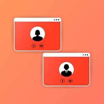 Szablon ekranu rozmowy wideo. interfejs połączenia wideo