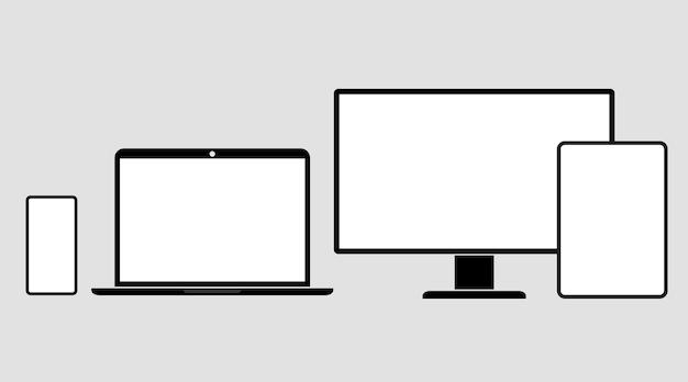 Szablon ekranu urządzeń. gadżety elektroniczne. monitor, laptop, tablet, smartfon