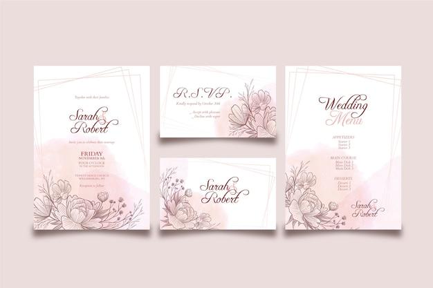 Szablon elegancki motyw zaproszenia ślubne