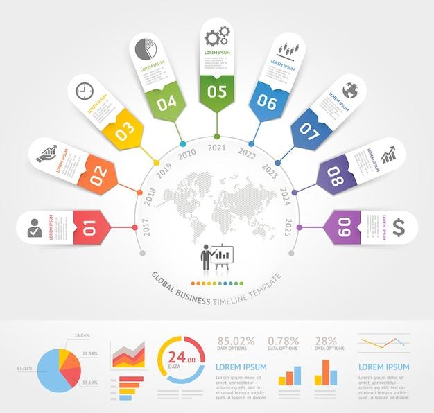 Szablon elementów osi czasu biznesu.