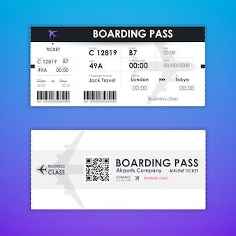 Szablon elementu karty biletu na kartę pokładową do projektowania graficznego.