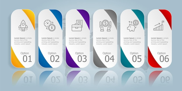 Szablon elementu prezentacji poziomej infografiki z ikoną biznesową 6 opcji ilustracji wektorowych tła