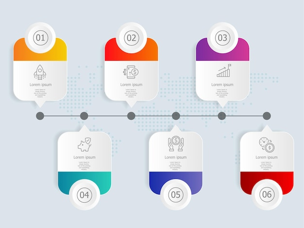 Szablon elementu prezentacji poziomej infografiki z ikoną biznesową 6 opcji