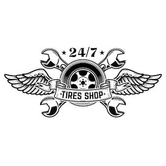 Szablon emblemat sklep z oponami. koło samochodu ze skrzydłami. elementy godła, znak, plakat. ilustracja