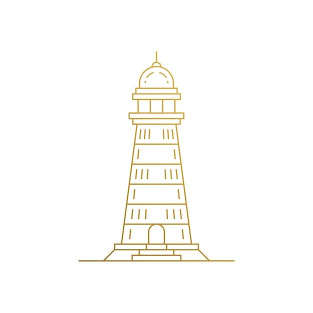 Szablon emblemat w stylu liniowym tradycyjnej wieży latarni morskiej
