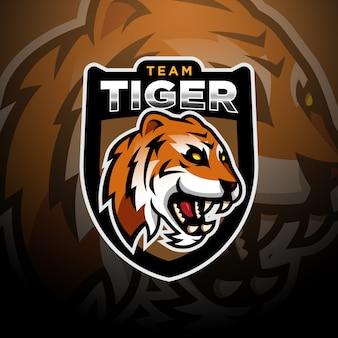 Szablon esport logo gier głowa tygrysa