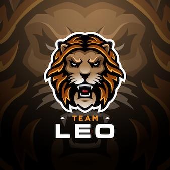 Szablon esport logo gry głowa lwa