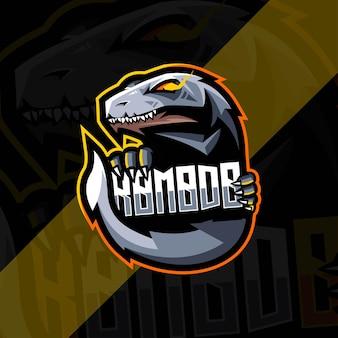 Szablon esport logo maskotki komodo