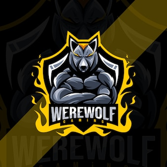 Szablon esport logo maskotki wilkołaka