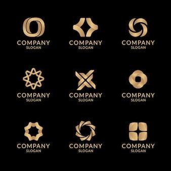 Szablon estetyczny złotego logo firmy, geometryczny zestaw wektorów do projektowania marki