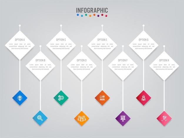 Szablon etykiety biznes infographic z opcjami.