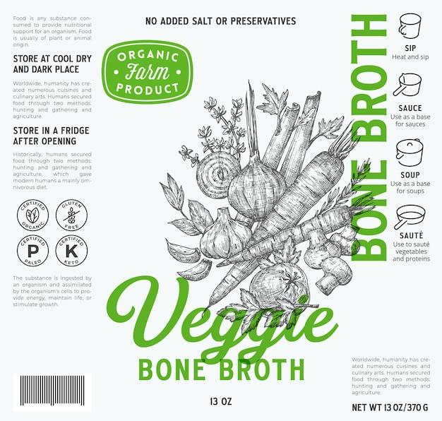 Szablon etykiety bulionu kostnego warzywo streszczenie wektor opakowania żywności projekt układ nowoczesnej typografii