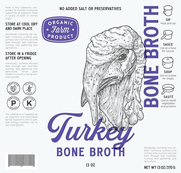Szablon etykiety bulionu kostnego z indyka streszczenie wektor opakowania żywności projekt układ nowoczesnej typografii
